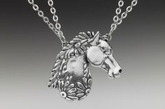 Silver Spoon Jewelry - Necklace - Horse - Silver Spoon Necklaces - Roses And Teacups