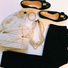 Thanksgiving Outfit - Cashmere Sweater Salvatore Ferragamo Vera Flats H&M Black Pants J Crew Pearls Hermes Bracelet.jpeg