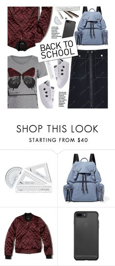 """""""Back To School: White Sneakers"""" by beebeely-look ❤ liked on Polyvore featuring Burberry, Hollister Co., BackToSchool, sammydress, denimskirt, whitesneakers and back2school"""