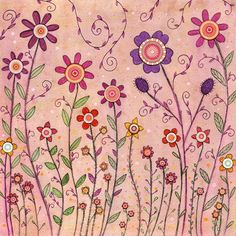 Retro Flower Nursery Decor Large Painting Art Print por Sascalia