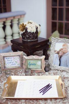 Guestbook of song lyrics. 10 Music Inspired Wedding Ideas on @Intimatewedding Photo by Brandon Kidd #weddinglyrics #weddingsongs #weddingmusic