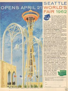 1960s Vintage Seattle World's Fair Washington State Department Travel Tourism Ad