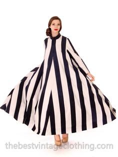 Vuokko Designer Iconic Tent Dress Vintage 1970s Navy Blue White Huge Stripes Size 40 S M