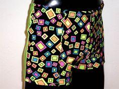 ed2469c12b635 Mooners Mens Lycra Shorts M MEDIUM 30-34 inch Flo Green Neon Squares Spandex  Burning Man Festival Dance Hot Yoga Bikram Underwear Sportswear