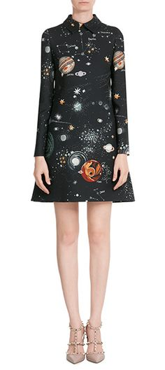 Inject out-of-this-world style to your fall repertoire in this galaxy-printed dress from Valentino #Stylebop