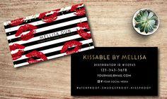 Lipsense Stripe Business Card // Kisses