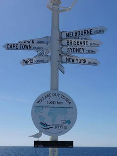 Signpost at the far end of Busselton jetty Brisbane, Melbourne, Out To Sea, Western Australia, Cape Town, Paris