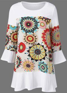 $12.16 Flare Sleeve Graphic Longline T-Shirt - White