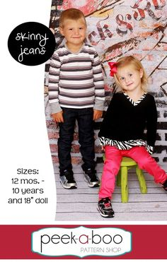 Image of Skinny Jeans, I have to remember this site to get some patterns for the ittle bittle's