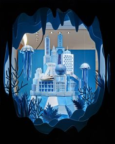 Click for more pics! Hermes Atlantis Paper Craft Blue Window Display #paperart