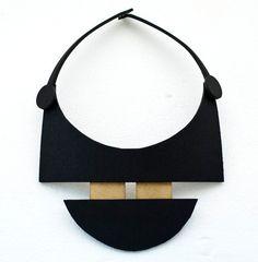 Minimal geometric black and gold necklace. €20.00, via Etsy. JOZZ- ACESSORIES -GR