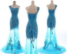 New Ice Blue Elegant One Shoulder Sequined Beautiful Appliques Long Mermaid/Trumpet Formal Party Evening/Prom/Bridesmaid Dresses