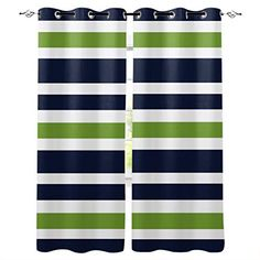Kitchen Blackout Curtains Panels Window Treatments for Living Room Bedroom Insulated Grommet Window Curtains and Drapes,Navy Blue, Lime Green and White Stripe 2 Panels 52×72 Inch Kids Curtains, Cafe Curtains, Window Drapes, Colorful Curtains, Hanging Curtains, Window Panels, Window Coverings, Drapes Curtains, Window Treatments