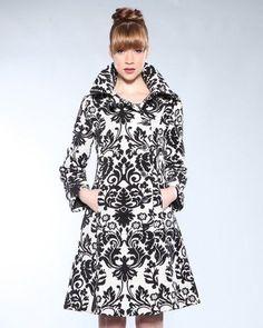 Desigual Black and White Damasked Coat Size EU 40 | eBay