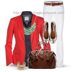 Spring Look #9 on Polyvore - pinning because I have a dark chambray much like this one and I need ideas of how to wear it!