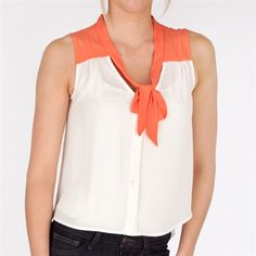 INA Juniors Woven Button Down Tank with Draped Back #VonMaur #INA #TieFront #CutOutBack