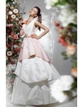 V-neck A-linie Glamoure Preiswerte Brautkleider aus Taft 1225