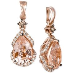 Le Vian Peach Morganite (2-3/8 ct. t.w.) and Diamond (1/3 ct. t.w.)... (€1.570) ❤ liked on Polyvore featuring jewelry, earrings, accessories, brinco, rose gold, rose gold drop earrings, diamond drop earrings, peach earrings, 14k jewelry and drop earrings