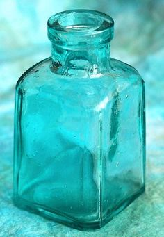 blue glass / shades of aqua and turquoise Old Bottles, Antique Bottles, Glass Bottles, Vintage Bottles, Antique Glass, Perfume Bottles, Shades Of Turquoise, Shades Of Blue, Bleu Turquoise