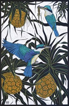 'Sacred Kingfisher' by Rachel Newling. Hand-coloured linocut on handmade Japanese paper. Rachel is an established artist from Sydney, specialising in hand coloured & reduction linocut, mixed media engraving & unique pastel drawing. Woodcut Art, Linocut Prints, Art Prints, Block Prints, Australian Birds, Australian Artists, Posca Art, Illustration Art, Illustrations