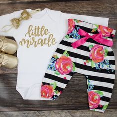 Baby Newborn take home outfit | Coming Home Outfit for Baby Girl Black White Stripe High Waisted Pants | Little Miracle Winter Take Home