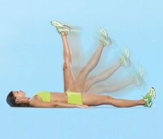 Flutter kick: Lie faceup. Squeeze abs and butt as you alternately kick right leg and left leg quickly up toward ceiling. Repeat for one minute. Great for abs and obliques.