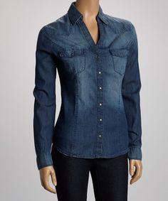 Look what I found on #zulily! Indigo Denim Dot Button-Up - Women by Silver Jeans Co. #zulilyfinds