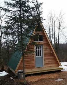 A Frame Recreational Cabin built from my plans. A Frame Recreational Cabin built from my plans. Tiny Cabins, Tiny House Cabin, Tiny House Plans, Tiny House Design, Tiny Cabin Plans, Rustic Cabins, Cabins And Cottages, A Frame Cabin Plans, Building A Tiny House
