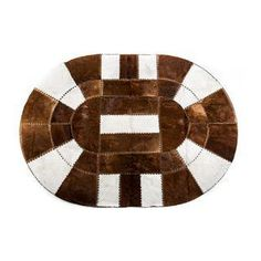 Oval Hair On Hide Patchwork Rug - 5′2″ × 7′1″ / Hand-Made / Hand-Stitched / Hand-Tanned / Natural air dried / PREMIUM QUALITY / $1.314 / Shop at: https://www.chairish.com/shop/aydin