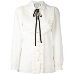 Gucci White Pleated Trim Blouse (6.200 RON) ❤ liked on Polyvore featuring tops, blouses, white, white top, button front top, gucci, long sleeve tops and long sleeve bow blouse
