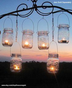 DIY Wedding Mason Jars Lanterns Hangers 6 DIY Outdoor Party Hanging Candle Kits, Luminaries by TreasureAgain, Handmade Hangers Only-No Jars. $19.00, via Etsy.