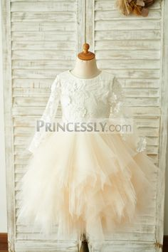efa9a8067c7 Ivory Lace Champagne Tulle Long Sleeves Wedding Flower Girl Dress