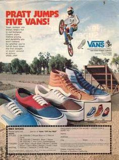 Old school Vans ad Bmx Shoes, Shoes Ads, Vans Shoes, Skate Shoes, Vintage Advertisements, Vintage Ads, Vintage Posters, Retro Ads, Vans Off The Wall