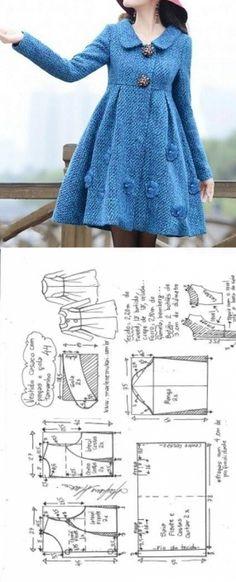 Vestido casaco com gola e pregas | DIY - molde, corte e costura - Marlene Mukai