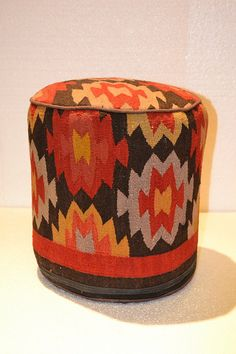 715 Rug Pouf / Antique Kilim Sitting Stool / by OakParkAntiques, $139.00