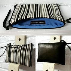 Large striped velvet and leather wristlet clutch