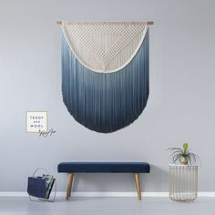 """$250 - $1,400 USD. A modern macrame piece such as this beautiful """"ALEXA"""" from Teddy and Wool, is perfect to add both texture and color to your space, as well as a sense of softness. D I M E N S I O N S (Dowel width x Macrame height) S: 12"""" x 16.5"""" ( 32 cm x 42 cm ) M: 20"""" x 25"""" ( 50 cm x 65 cm ) L: 28"""" x 33.5"""" ( 71 cm x 85 cm ) XL: 34"""" x 47"""" ( 86 cm x 120 cm ) XXL: 46"""" x 53.5"""" (116.8 cm x 135.9 cm) 3XL: 58"""" x 60"""" (147.2 cm x 152.4 cm ) 6 - 10 working days to create. Free Worldwide Shipping."""
