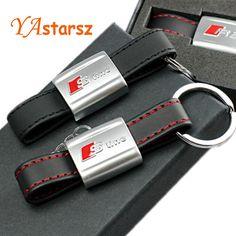 1pcs Auto Car Sticker Black Red Line Leather Sport SLine for Audi 3 A4 A5 A6 A8 TT RS Q5 Q7 S Line Keychain Keyring Keyfob