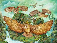 Flight Of The Celtic Owls  A Fine Art Greeting by HollySierraArt, $4.00