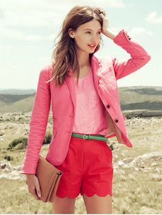 Bedazzles After Dark: Outfit Idea: Salmon Pink Blazer & Sequin Tank; Coral Scalloped Short; Green Belt; Neutral Handbag