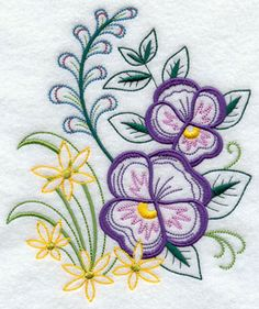 A pansy bouquet machine embroidery design.