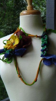 Flower bouquet Wet felted Necklace Scarf Belt by rafaelart on Etsy, $28.00