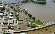 The Davenport river front, Thursday, July 3, 2014, just before the crest. (John Schultz, Quad-City Times)