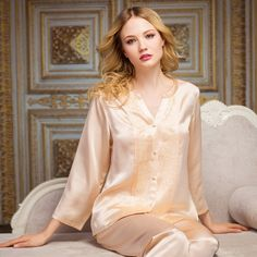 Women's silk robes silk pajamas silk nightgowns silk nighties silk sleepwear silk nightwear silk chemise camisole (69)