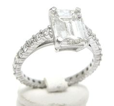 215ctw EMERALD cut diamond engagement ring