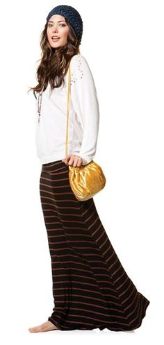 Maxi skirts (especially for working in the nursery.)