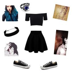 """""""Proposal with Jeff the Killer"""" by lukehemmingspenguin13 on Polyvore featuring American Apparel, Converse, women's clothing, women, female, woman, misses and juniors"""