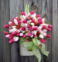 Valentine Wreath , Spring Wreath ,Easter Wreath , Wreath Alternative , Wreath For The Door. $69.00, via Etsy.