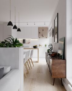 Interior design of apartment in Minsk at the joint of Scandinavian style and restrained minimalism. - living/dining area