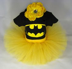 YES! Batman Tutu Baby Girl's Outfit - Maybe Black Tutu instead of yellow, but this thing is awesome!